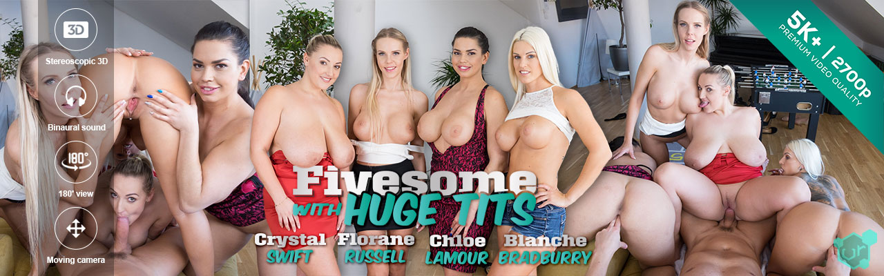 Czech VR porn - Fivesome with Huge Tits